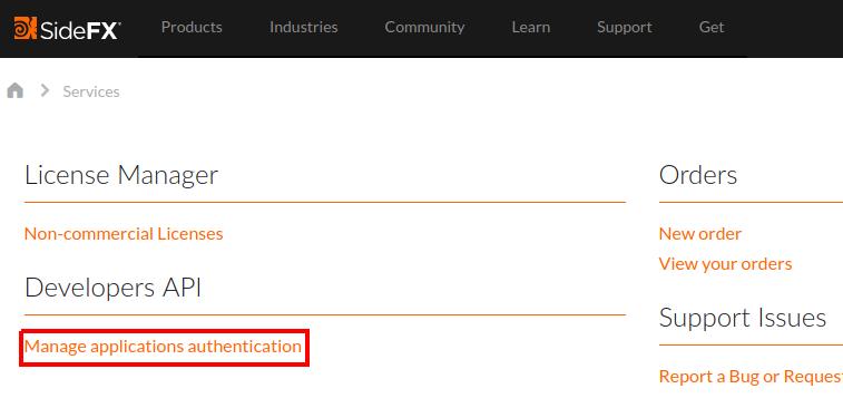 Generate credentials for API access — SideFX Web API