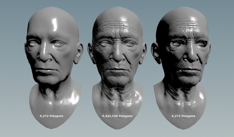 Adding detail with normal bump and displacement mapping