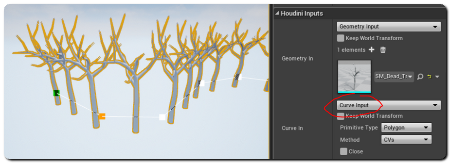 Houdini Engine for Unreal: Curves