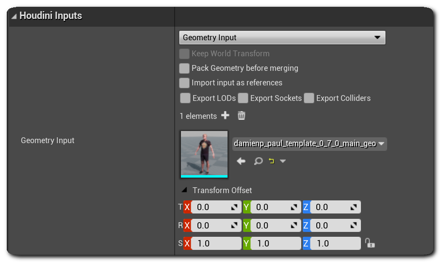Houdini Engine for Unreal: Inputs